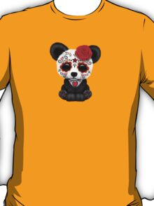 Red Day of the Dead Sugar Skull Panda on Yellow T-Shirt