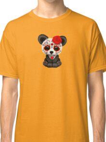 Red Day of the Dead Sugar Skull Panda on Yellow Classic T-Shirt