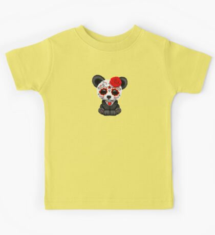 Red Day of the Dead Sugar Skull Panda on Yellow Kids Tee