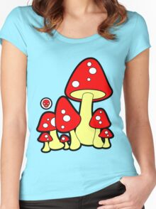 Mushrooms Red Women's Fitted Scoop T-Shirt