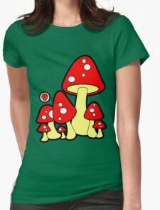 Mushrooms Red Womens Fitted T-Shirt