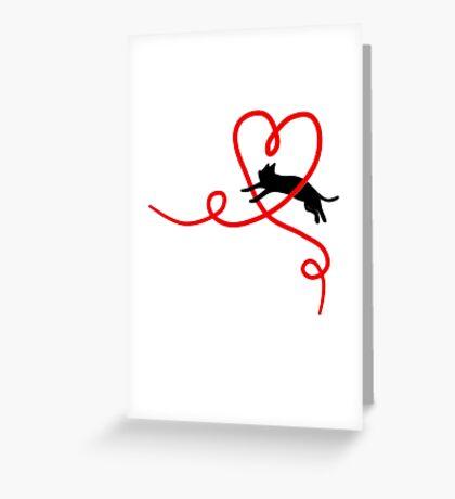 Black Cat Red Heart Cute Sweet Valentine Gift Art Greeting Card