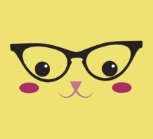 Cute kitty in glasses Kids Tee