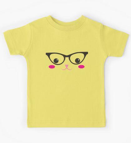 Cute kitty in glasses Kids Tee