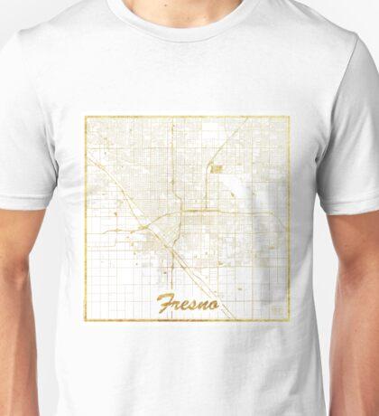 Fresno Map Gold Unisex T-Shirt