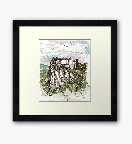 Hand Drawn Old Towns Framed Print