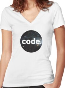 Code. Women's Fitted V-Neck T-Shirt