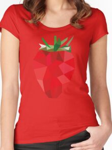 Poly Strawberry Women's Fitted Scoop T-Shirt