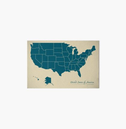 USA map artwork colour illustration Art Board