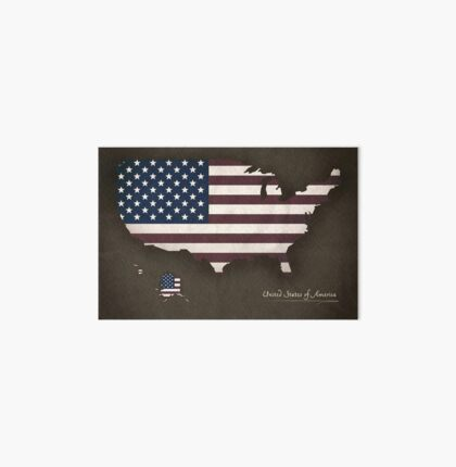 USA map special vintage artwork style with flag illustration Art Board