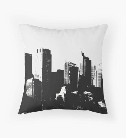 Big City Buildings Black & White Throw Pillow