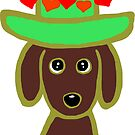 Chocolate Labrador Green Hat by HappyLabradors