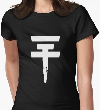 Tokio Hotel Logo (white, once) Womens Fitted T-Shirt