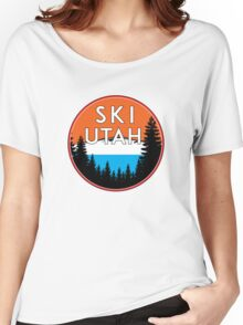 SKI UTAH MOUNTAINS SKIING SKIER PARK CITY ALTA Women's Relaxed Fit T-Shirt