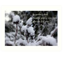 my garden is dead, snow Art Print