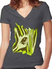 Wildlife Zebra Women's Fitted V-Neck T-Shirt
