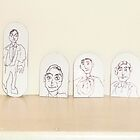 drawings on small cardboard tabs by Stacey Lazarus