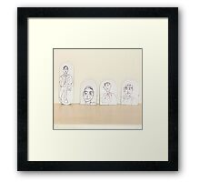 drawings on small cardboard tabs Framed Print