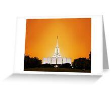 Jordan River Temple Orange Sunset 20x24 Greeting Card