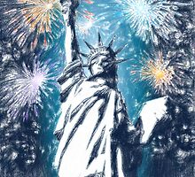 Statue Liberty 4th of July Fireworks by Adam Asar