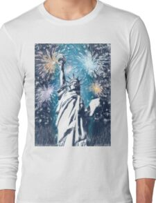 Statue Liberty 4th of July Fireworks Long Sleeve T-Shirt
