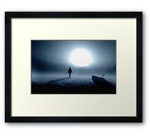 landscape portrait person night moon Framed Print
