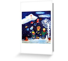 Angel Showering Gifts by Marie-Jose Pappas Greeting Card