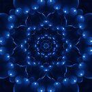 Electric Blue Kaleidoscope Mandala by Kitty Bitty