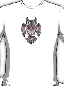 Red and Teal Blue Haida Spirit Owl T-Shirt