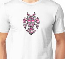 Pink and Black Haida Spirit Owl Unisex T-Shirt
