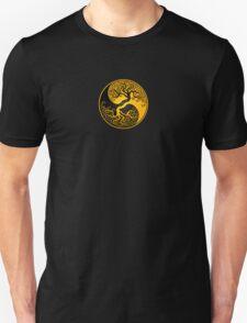 Yellow and Black Tree of Life Yin Yang Unisex T-Shirt