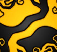 Yellow and Black Tree of Life Yin Yang Sticker