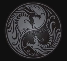 Yin Yang Dragons Gray and Black T-Shirt