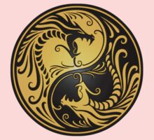 Yin Yang Dragons Yellow and Black One Piece - Short Sleeve