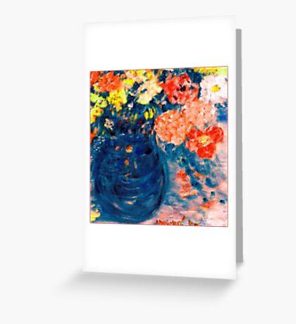 Romance Flowers in Blue Vase Designer Decor & Gifts Greeting Card