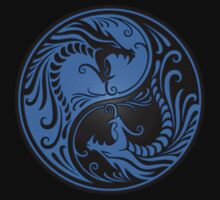 Yin Yang Dragons Blue and Black One Piece - Short Sleeve