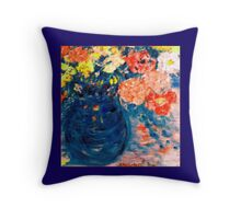 Romance Flowers in Blue Vase Designer Decor & Gifts Throw Pillow