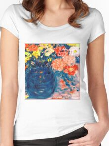 Romance Flowers in Blue Vase Designer Decor & Gifts Women's Fitted Scoop T-Shirt