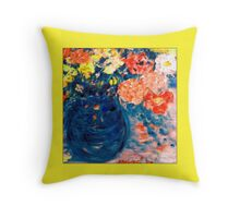 Romance Flowers in Blue Vase Artist Decor & Gifts Throw Pillow