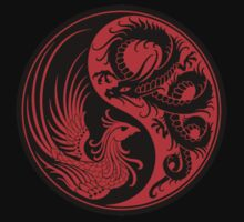 Red and Black Dragon Phoenix Yin Yang Kids Clothes
