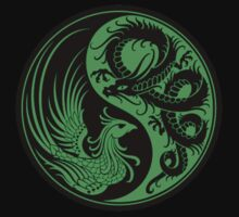 Green and Black Dragon Phoenix Yin Yang Kids Clothes