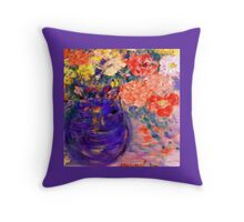 Romance Flowers in Purple Vase Artist Decor & Gifts Throw Pillow
