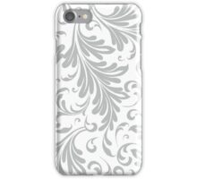 Fancy Acanthus Pattern White on Grey iPhone Case/Skin
