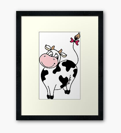 Cute smile cartoon cow Framed Print