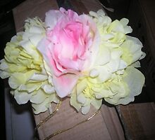 """ava statia"" - wedding silk flower headpiece and streamers for pretty veil!  candace bridal collectables by candace lauer"