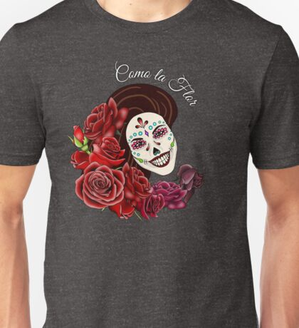 Como la Flor - Selena - Day of the Dead Sugar Skull Unisex T-Shirt