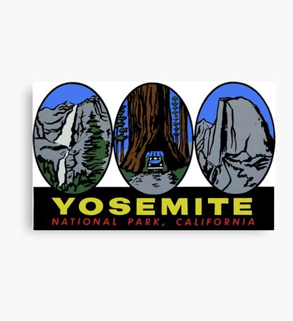 3 Pic Yosemite National Park California Vintage Travel Decal Canvas Print