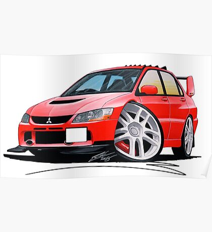 Mitsubishi Evo IX Red Poster