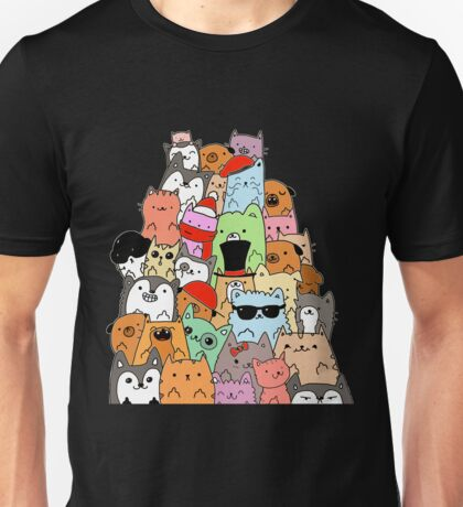 Cute Cats and Dogs Doodle Unisex T-Shirt