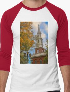 USA. Connecticut. New Haven. First Church of Christ on the Green. Men's Baseball ¾ T-Shirt